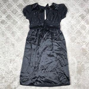 Betsey Johnson Dress Black 100% Silk Blouson Pinup